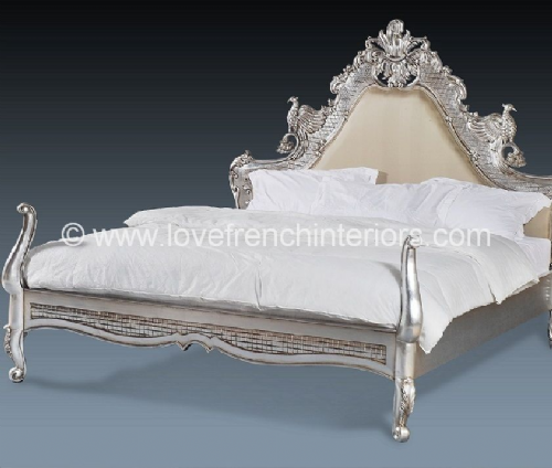 Candice Upholstered Hawk Bed in Silver Leaf